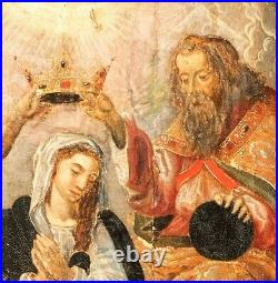 16th 17th Century Flemish Old Master The Coronation Of The Virgin Oil On Panel