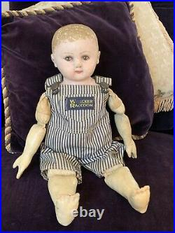 17 Antique Oil Painted Rollinson Cloth Doll'Timothy' c. 1916 1929 RHTF