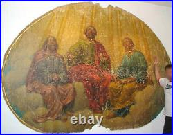 1700s ANTIQUE GIANT 8' OIL PAINTING HOLY SPIRIT PENTECOST Christian Church Bible