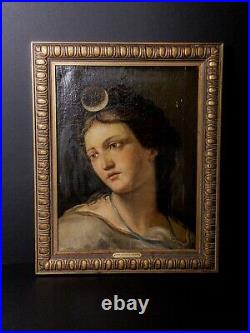 17th Century Old Masters Italian School Portrait Painting of Diana the Huntress