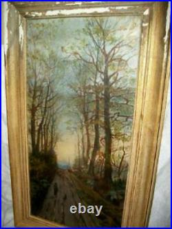 1880s OIL PAINTING FRENCH SCENE CATTLE HERDER DOG VILLAGE CHURCH STEEPLE TREES