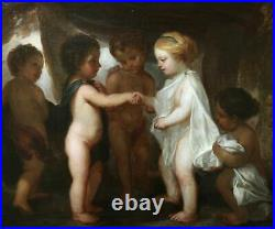 18th CENTURY FINE LARGE ITALIAN OLD MASTER OIL ON CANVAS Betrothal Of Putti