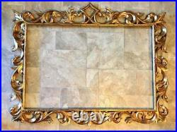 19 Cent. Large Antique Italian Carved Gilt Wood Frame for Mirror or Oil Painting