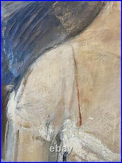 1930s Society Female Portrait Oil On Canvas Painting Art Antique