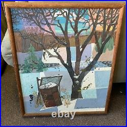 1963 Hugh Donnell Winter Fields Surrealist Painting Connecticut Oil Board PICKUP