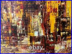 1970 New York 50 Mid Century Modern Abstract Cityscape Oil on Canvas Painting
