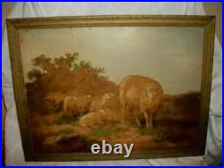 19th C. FRENCH NAIVE PASTORAL SHEEP OIL PAINTING FARMHOUSE 1899 FRAMED ANTIQUE