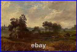 19th Century Antique Plein Air Rural Landscape With Cows Oil Painting