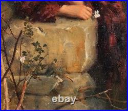 19th Century English School Portrait Of A Girl By A Wall Antique Oil Painting