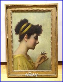 19th Century Neo Classical Pre-Raphaelite Maiden Butterfly Antique Oil Painting