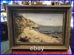 19th Century Oil on Linen by Osc. Michaels Original Frame English Coast Signed