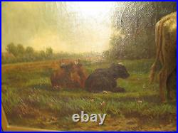 19th c Antique S. North Signed Landscape Painting Cows in Pasture