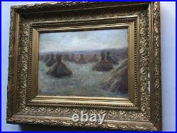 19thC Antique French Impressionism oil painting Ballet of Haystack