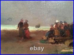 19thC French Impressionism antique oil painting Women Beach Eugene BOUDIN