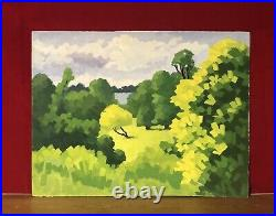 20th CENTURY FRENCH CUBIST LANDSCAPE OIL PAINTING BRIGHT GREEN TREES & FIELDS