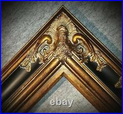 5.5 WIDE Gold and Black Ornate Antique Oil Painting Wood Picture Frame 620BP