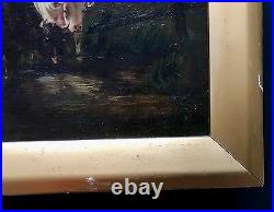 ANTIQUE 19th C AUTHENTIC OIL PAINTING OF FARMER COWS