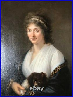 ANTIQUE EARLY AMERICAN OIL PORTRAIT LADY w DOG KING CHARLES CAVALIER CHRISTIES