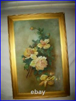 ANTIQUE ROSES OIL PAINTING 1890's FRENCH FARMHOUSE VICTORIAN CHIPPY GILT FRAME