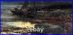 Alfred Bell (1832-95) Antique Original Oil Painting Sunset Loch Maree Scotland 1