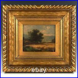 American George Inness 1825-1894 Landscape oil on artist board antique painting