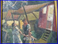 Antique 1920's Oil Painting Circus Americana Fair Carnival Wpa Ashcan Style Era