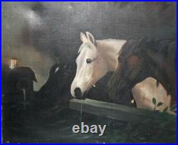Antique 19c Oil Painting Study of 3 Horses at Trough Manner of John F. Herring