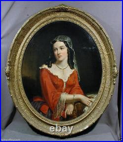Antique 19th Century (1853) oil painting. (oval) signed William Sanford Mason