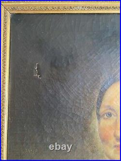 Antique 19th Century American School Oil On Canvas Portrait of a Lady