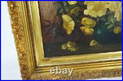 Antique 19th Century Oil Painting Floral Still Life Vase Flowers Framed