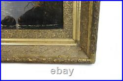 Antique 19th Century Oil Painting of Nocturnal Lake Mountain Sailboats Landscape