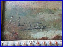 Antique 19th Century Small Gem Oil Painting Mystery Artist Landscape People Old
