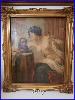 Antique 19th Orientalist oil painting Salome with the Head of John the Baptist