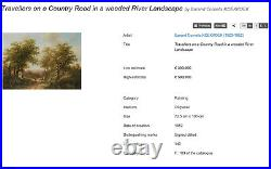 Antique 19th century Top Quality Stunning Dutch Landscape Forest Road