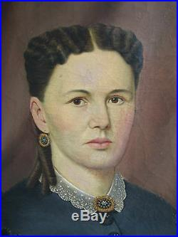 Antique American Folk Art Portrait Of A Young Woman With Gold Earrings & Brooch