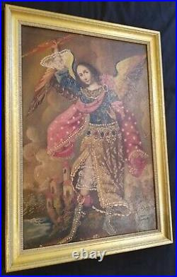 Antique Angel Painting Original Oil Painting in Gold Frame Heavenly Angel