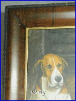 Antique Arts Crafts Empire Rosewood Picture Frame Dog Oil Painting Fox Hounds