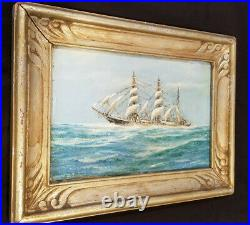 Antique Clipper Ship Oil Painting in Antique Frame Seascape Maritime Nautical