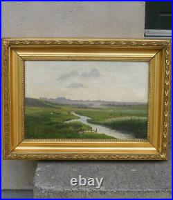 Antique Danish summer landscape with a stream and cows. 1880. Signed