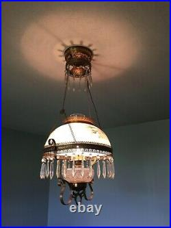 Antique Dome Milk Glass Painted Shade Hanging Oil Lamp Light Chandelier
