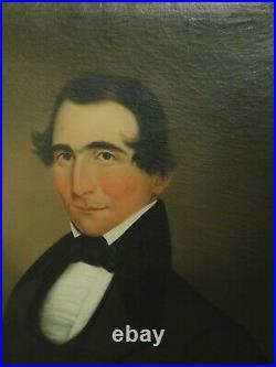 Antique Early American Folk Art Portrait handsome Man Empire Picture Frame 1840