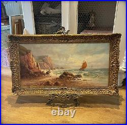 Antique Edwardian Oil On Canvas Painting Seascape Signed S. Y. Johnson 1908