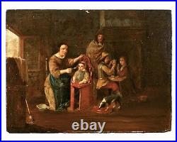 Antique Flemish Old Master oil on panel painting, David Teniers the Younger