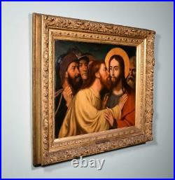 Antique Framed Oil on Panel Painting of Jesus and Judas Religious by Hendrix