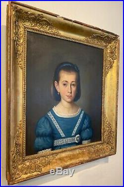 Antique French Empire Oil Painting Portrait, Beautiful Young Girl in Blue, Frame