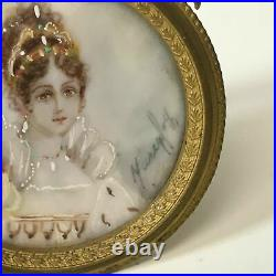 Antique French Miniature Portrait Painting of Lady Signed