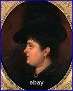Antique French Oil Painting, Portrait of Woman c. 1840s, Fine Frame, Jewelry, Hat