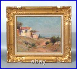 Antique French Oil Painting, Seascape Provence South of France, Signed Chaumière