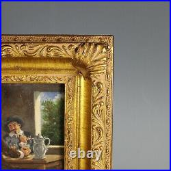 Antique French Small early 20th C Genre Painting