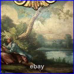 Antique French Trumeau Mirror EXCELLENT OIL PAINTING WITH AMAZING DETAIL